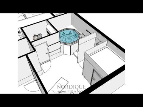 R alisation 3d sur plan installation hammam spa et for 3d salon floor plans
