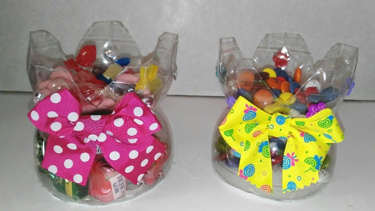 Dulceros con botellas de plastico recicladas manualidades - Mesas para ninos de plastico ...