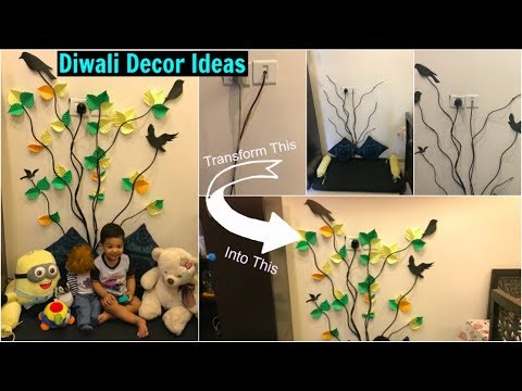 Easy Diwali Decor Ideas | Easy Wall Decor using No Paint ...