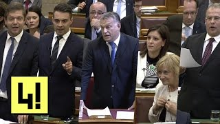 Durván egymásnak esett Vona Gábor és Orbán Viktor a kvótanépszavazás után a Parlamentben
