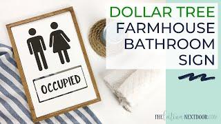 DOLLAR TREE FARMHOUSE BATHROOM SIGN | DIY Farmhouse Sign | Dollar Tree Farmhouse Decor DIY 2020