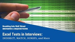 Excel Tests in Interviews: INDIRECT, MATCH, SUMIFS, and More