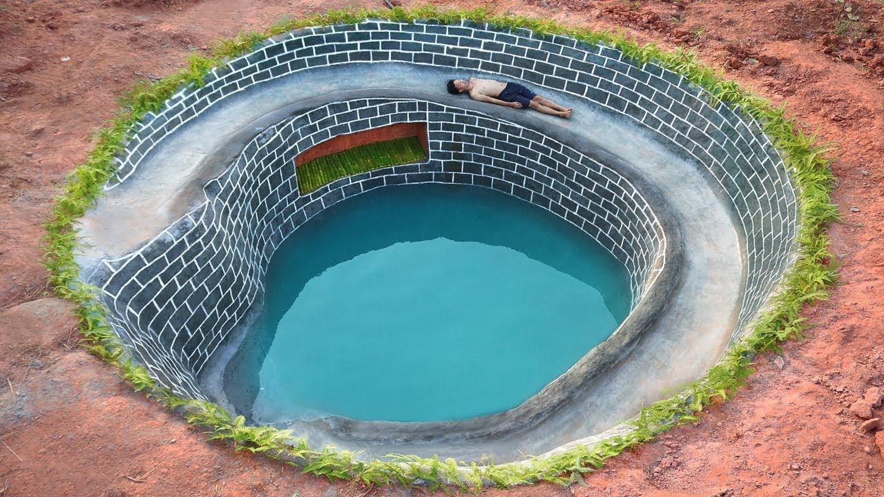 Build The Most Underground Water Slide House Around Swimming Pool