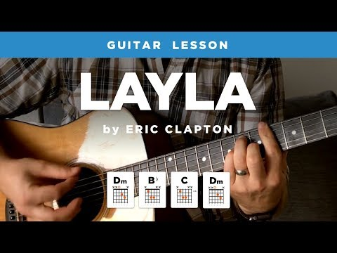 "🎸 ""Layla"" unplugged guitar lesson w/ intro tab & chords (Eric Clapton)"