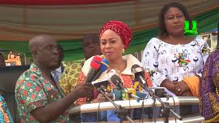 Adwoa Sarfo cuts sod for construction of roads in Dome-Kwabenya