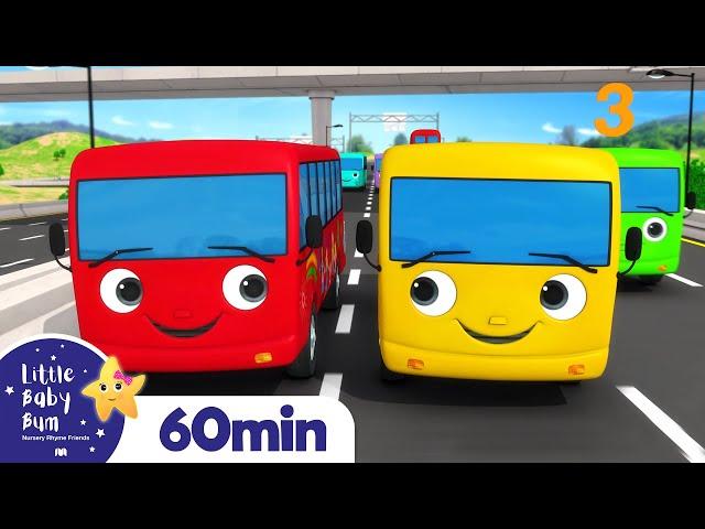 Ten Little Buses | Wheels On The Bus, Vehicle Songs & Nursery Rhymes | ABCs & 123s | Little Baby Bum
