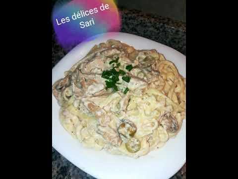 tagliatelles-poulet-champignons-olives-avec-une-sauce-crémeuse-😍😍😍😋😋😋