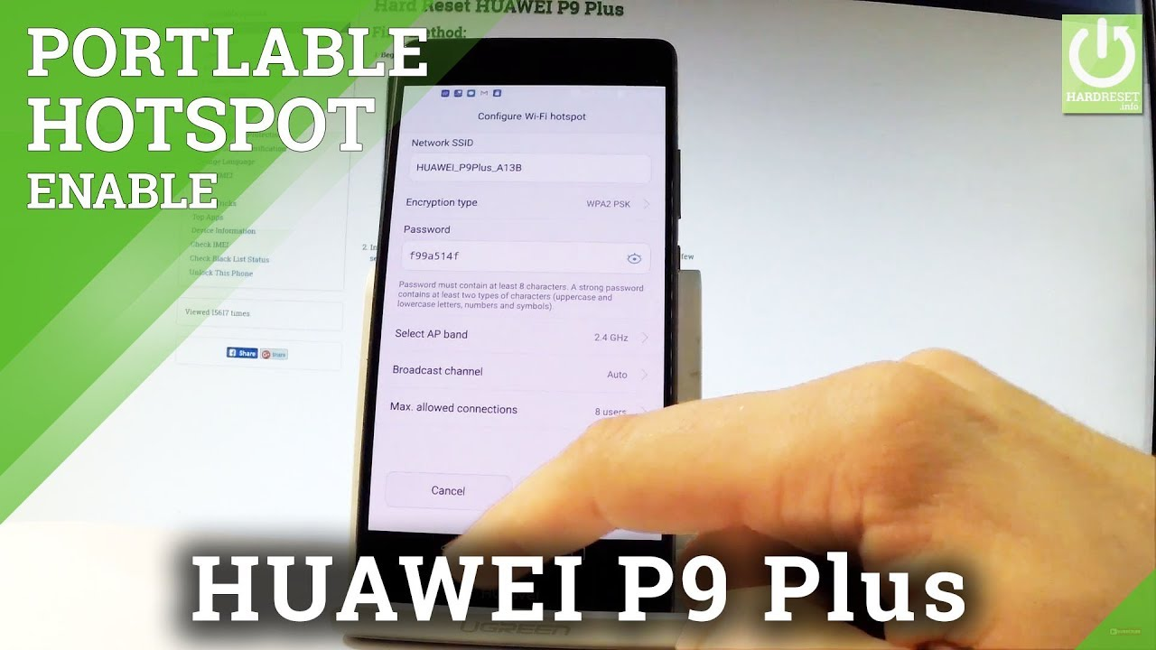 How to Create WiFi Hotspot HUAWEI P9 Plus - Set Up Mobile HotSpot