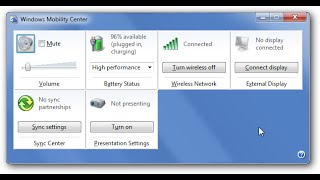 Windows Mobility Center Disable and Enable in Windows 7 2015