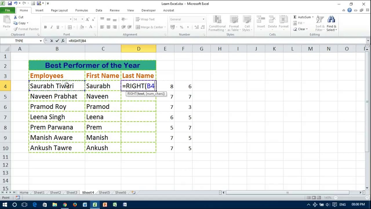 How to Split full Name to First and Last Name in Excel - YouTube