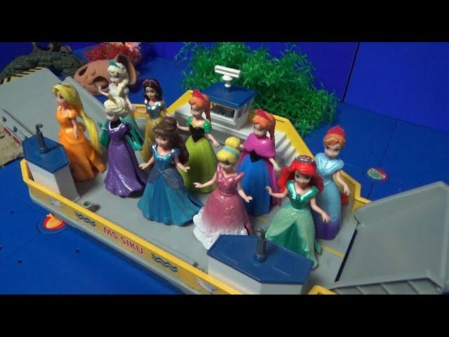 겨울왕국 엘사 디즈니 공주 10명 배로 이동하기 Frozen Elsa Disney 10 Princess Boat ride