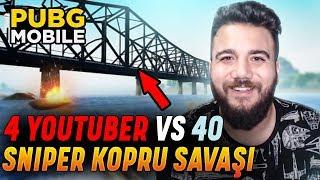4 YOUTUBER vs 40! İMKANSIZ SNİPER SAVAŞI! PUBG Mobile Köprü Savaşı
