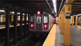 BC-Flatbush Ave.-bound R142 (5) train leaving Franklin Ave. (IRT Eastern Parkway Line)