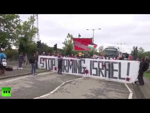 """""""Stop arming Israel"""" protesters block deliveries to UK arms fair"""