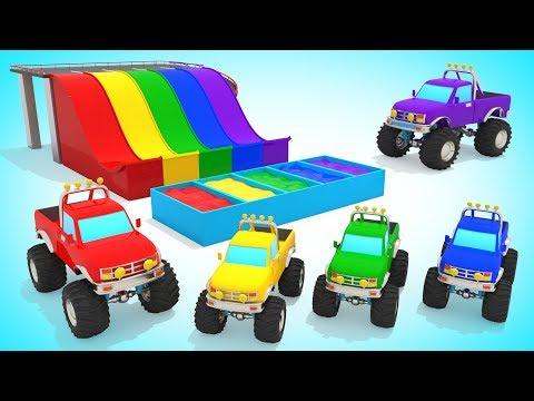 Видео: Монстер Траки и Цветные Бассейны / Изучаем Цвета / Мультик про Машинки для Малышей / Волшебство ТВ