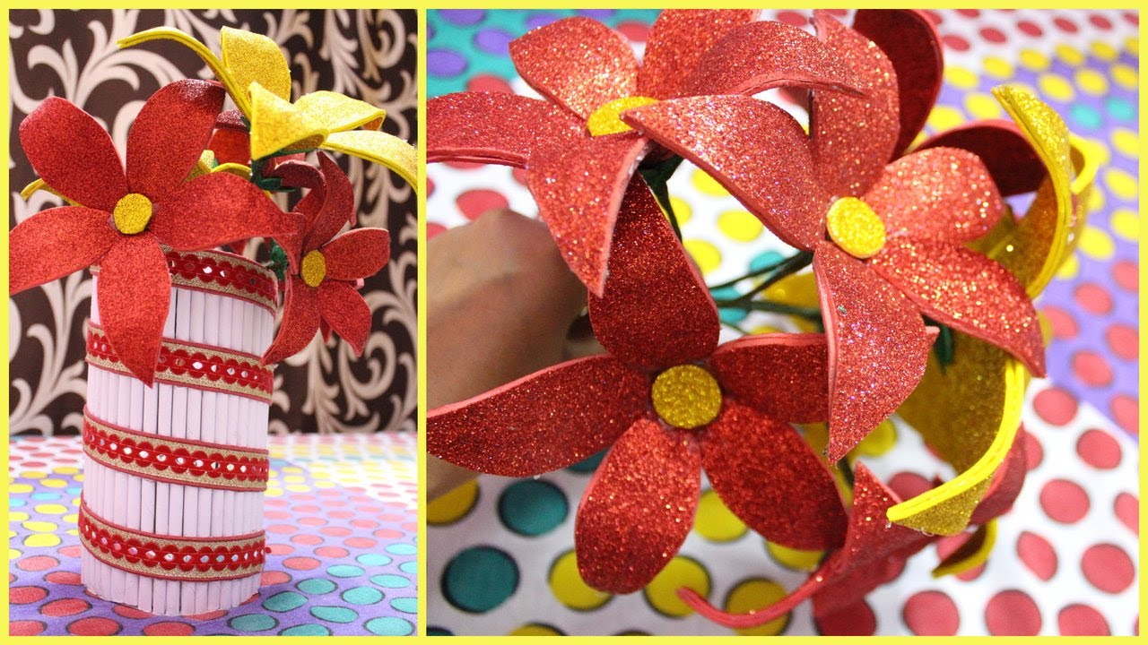 Diy Glitter Paper Crafts I Easy Gift Ideas I Make Glitter Sheet Flowers At Home I Creative Diaries