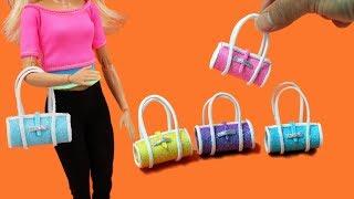 How to Make Mini Handbag for Barbie Dolls 👛Barbie Style EASY😍Miniature Purse Toturial