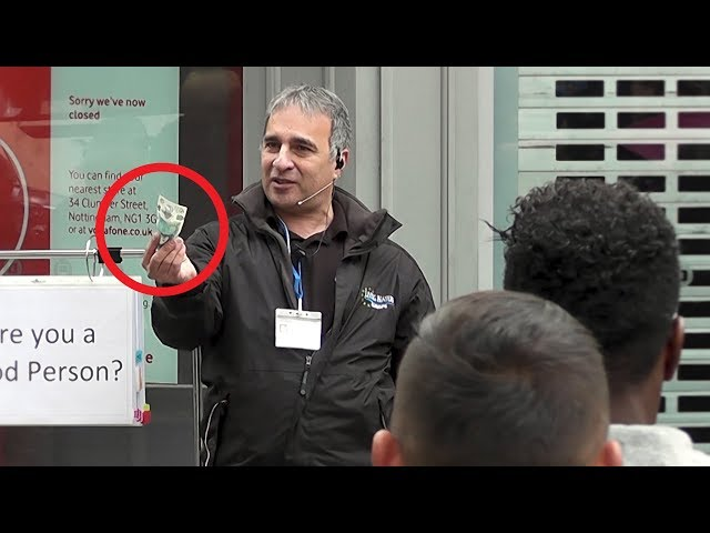 Street Evangelist offers £5 to someone if they can pass the test