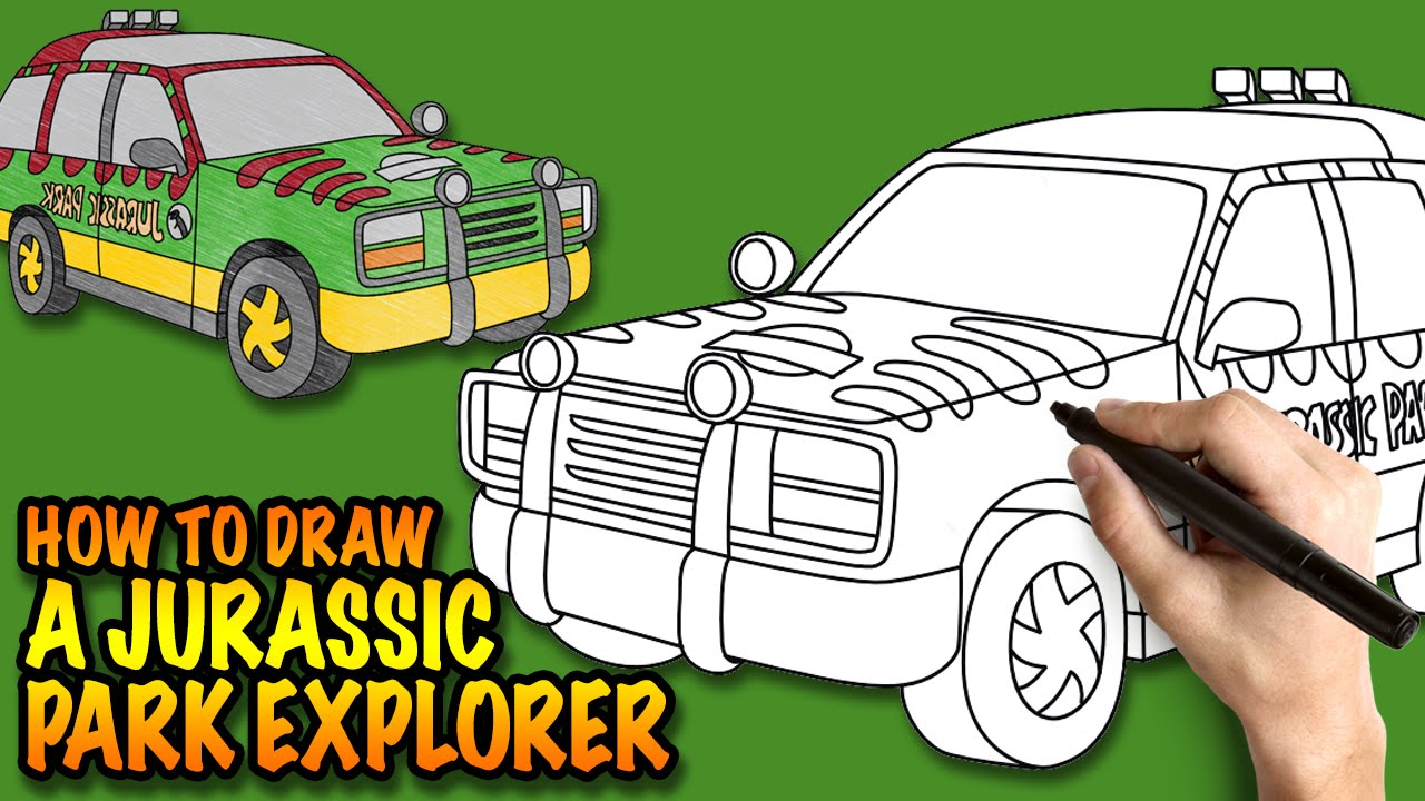 How to draw a Jurassic Park Explorer Vehicle - Easy step-by-step ...