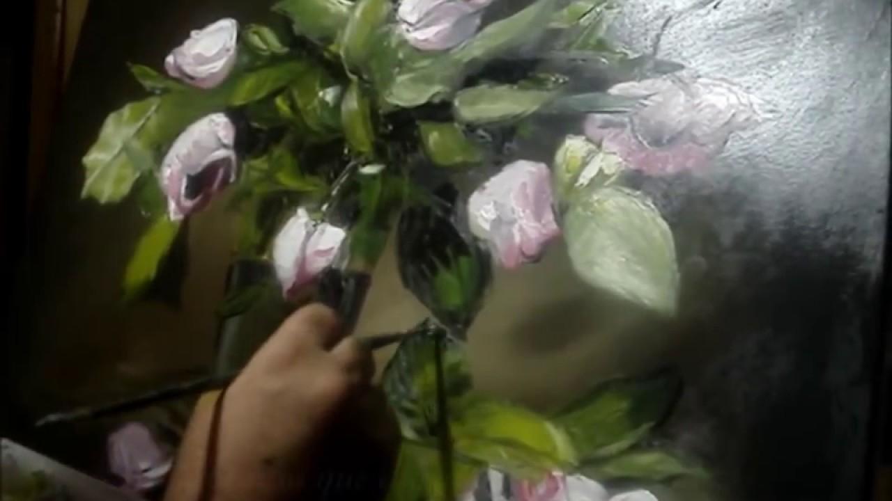 Pintando Rosas Al óleo Con Espátula Con Un Triste Poema Youtube