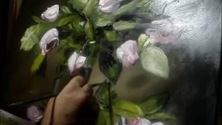 Pintando rosas al óleo con espátula con un triste poema