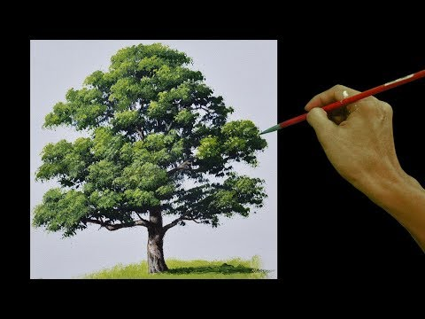 How to Paint an Oak Tree in Real Time Basic Acrylic Painting Tutorial for Beginners by JM Lisondra