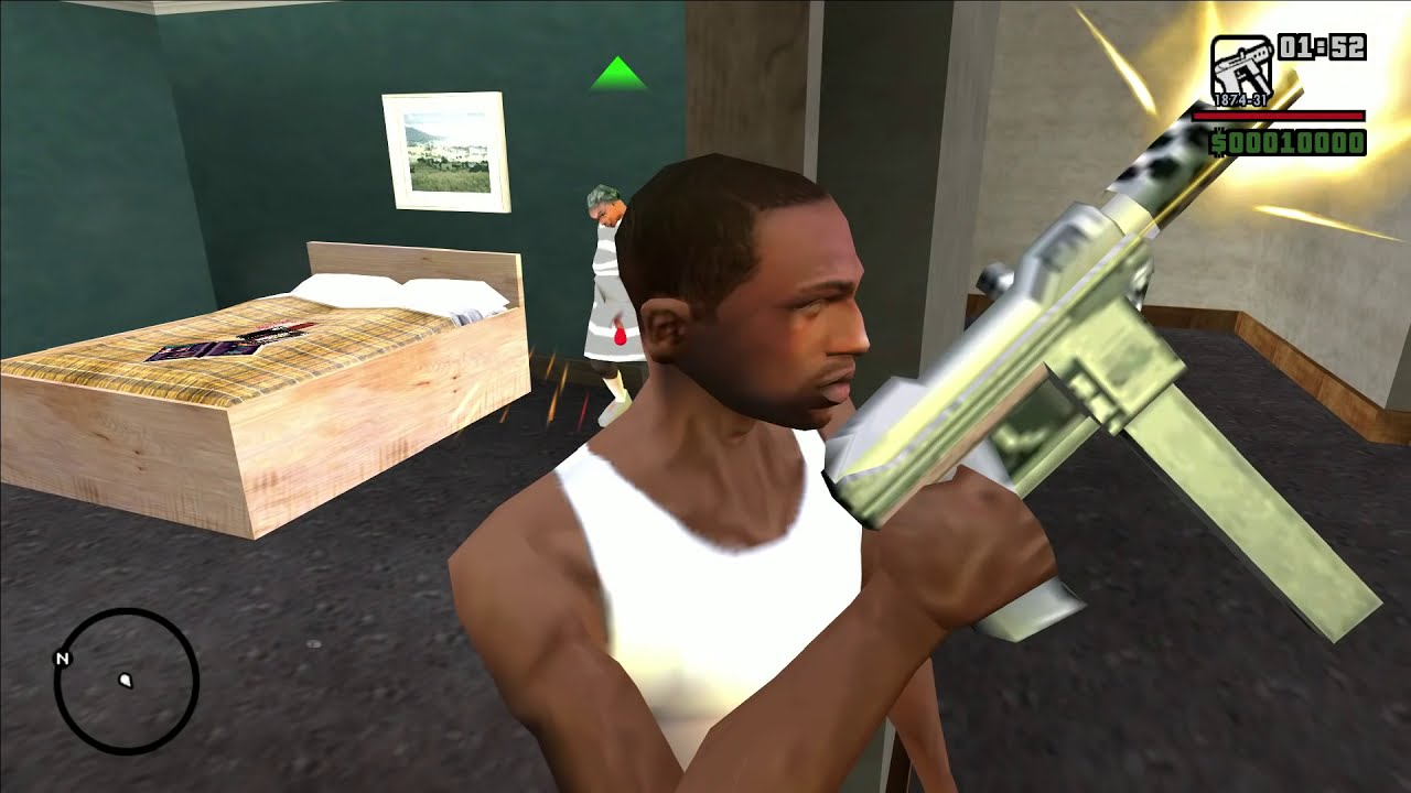 GRANNY in CJ's House in GTA San Andreas! (Killing Granny and Taking Her Baseball Bat)