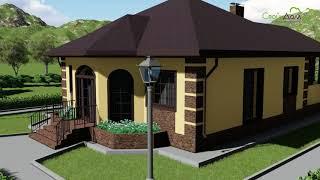 Проект одноэтажного дома Генрих B-270 с террасой и двумя спальнями