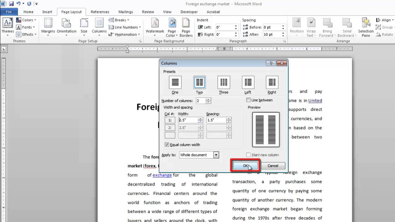 how to insert columns in word