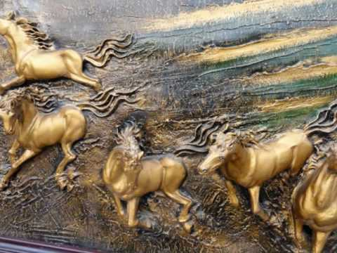 Salvaged Vintage Chinese Horses Fiberglass Sculpture/Molding from a London Restaurant