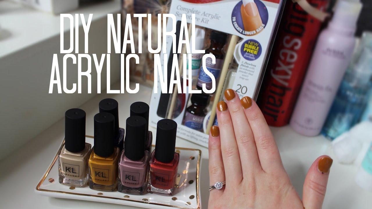 DIY Natural Acrylic Nails   Kiss Acrylic Nail Kit & KL Polish! - YouTube