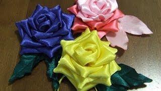 Розы из ткани Цветы из атласной  ленты в стиле канзаши.(Цветы из атласной ленты или из атласной ткани можно сделать своими руками.Цветы из атласа в стиле канзаши..., 2014-02-20T23:22:41.000Z)