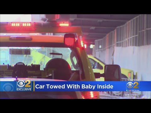 A man left his baby in an illegally parked car and a Chicago worker towed them away. The dad was charged with child endangerment.