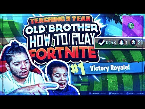 TEACHING 9 YEAR OLD BROTHER HOW TO PLAY FORTNITE! FORTNITE BATTLE ROYALE SOLO! TIPS AND TRICKS! WIN!