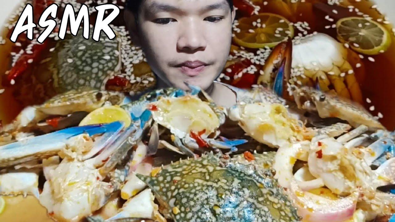ASMR ปูม้าดองซีอิ๊ว ยำปูม้า,crab