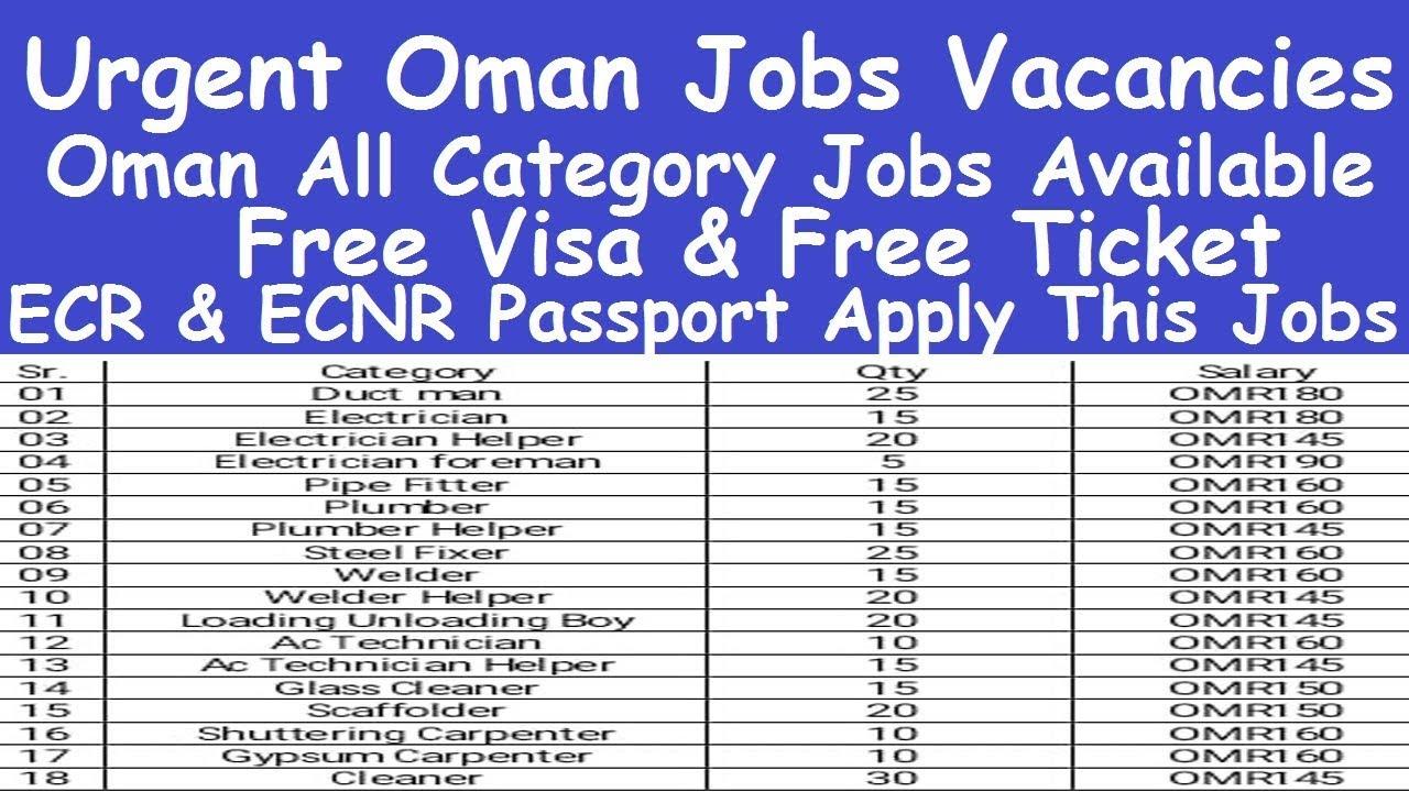 Oman Country Job Vacancies l Oman All Category Jobs Available l ECR and  ECNR Oman Helper Jobs