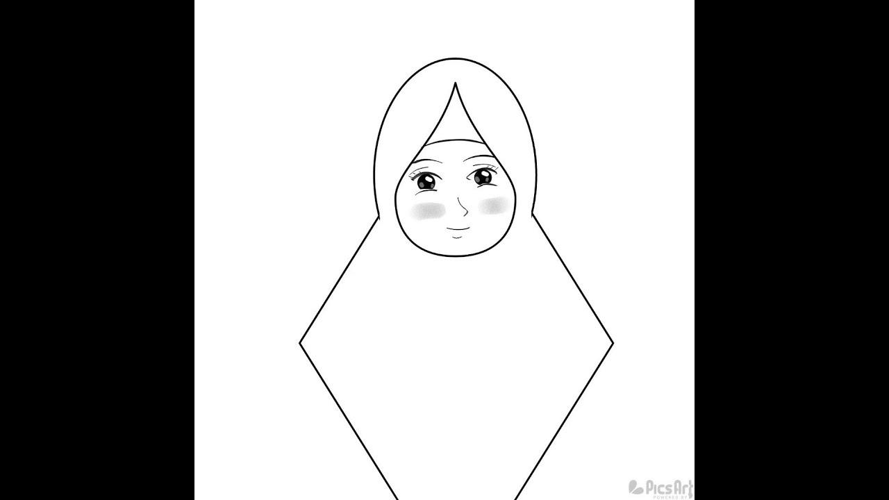 Cara Menggambar Orang Berhijab Kartun