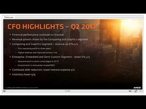AMD 2nd Quarter 2017 Earnings Call #FullCall #Conference #Second Quarter Report 2017 - Lets Ryzen!