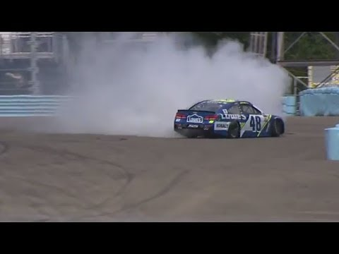 Jimmie Johnson slides into tire barrier at Watkins Glen