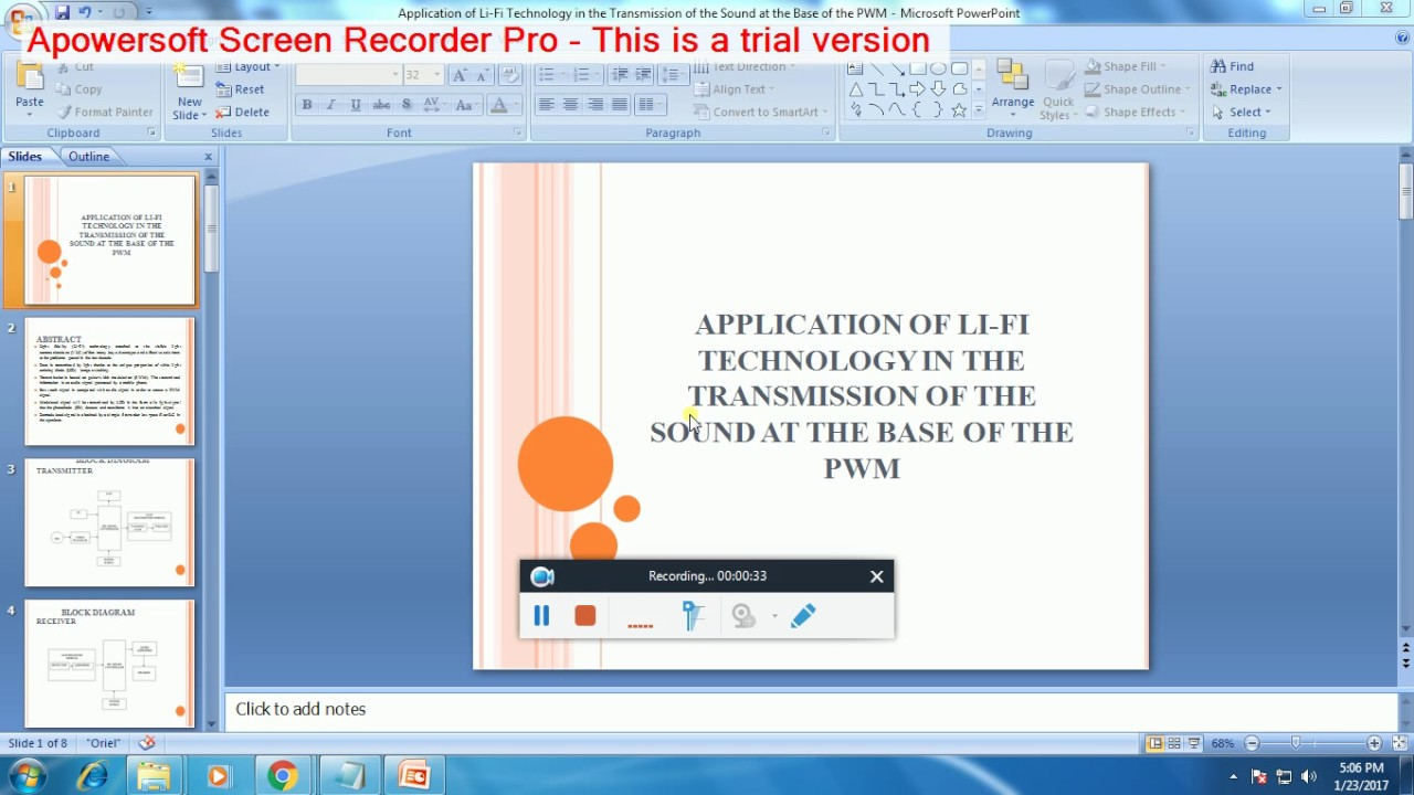 IEEE 2016-2017 EMBEDDED APPLICATION OF LI FI TECHNOLOGY IN THE TRANSMISSION  OF THE SOUND