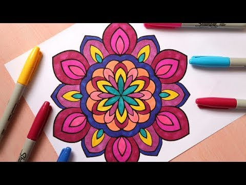 How To Color A Mandala With Markers Tutorial | Easy Mandala Or Zen ...