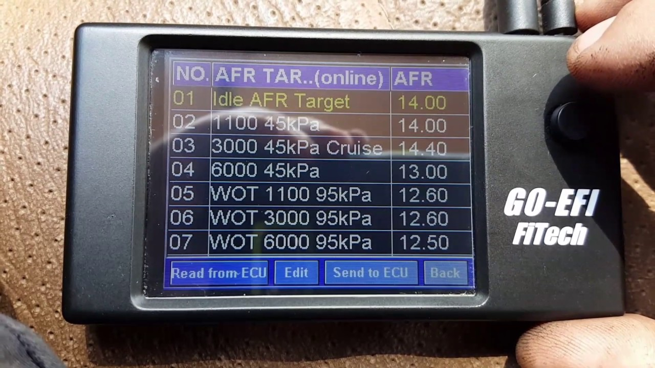 Fitech adjustments for E85 screen walkthrough