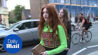 Nicola Roberts wears quirky embroidered dress to LFW show - Daily Mail