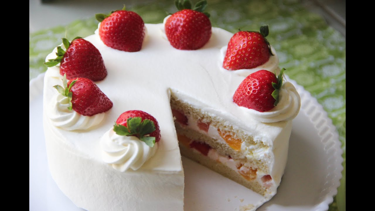Japanese Sponge Cake Recipe Youtube: Strawberry Shortcake Recipe
