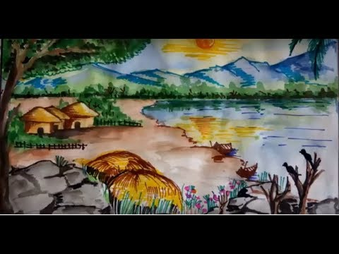 Summer Season Scenery Drawing || Watercolour Landscape painting Of Village