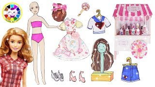 Paper doll barbie dress up for sweet candy cart🍬handmade doll papercraft for girls