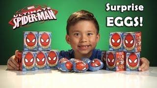 Repeat youtube video Opening SPIDER-MAN Choco Treasures Surprise EGGS!