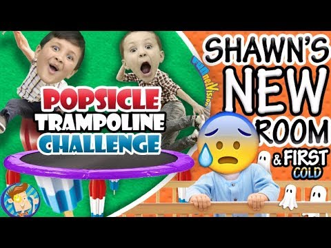 Popsicle Trampoline Challenge / Shawn's New Bedroom