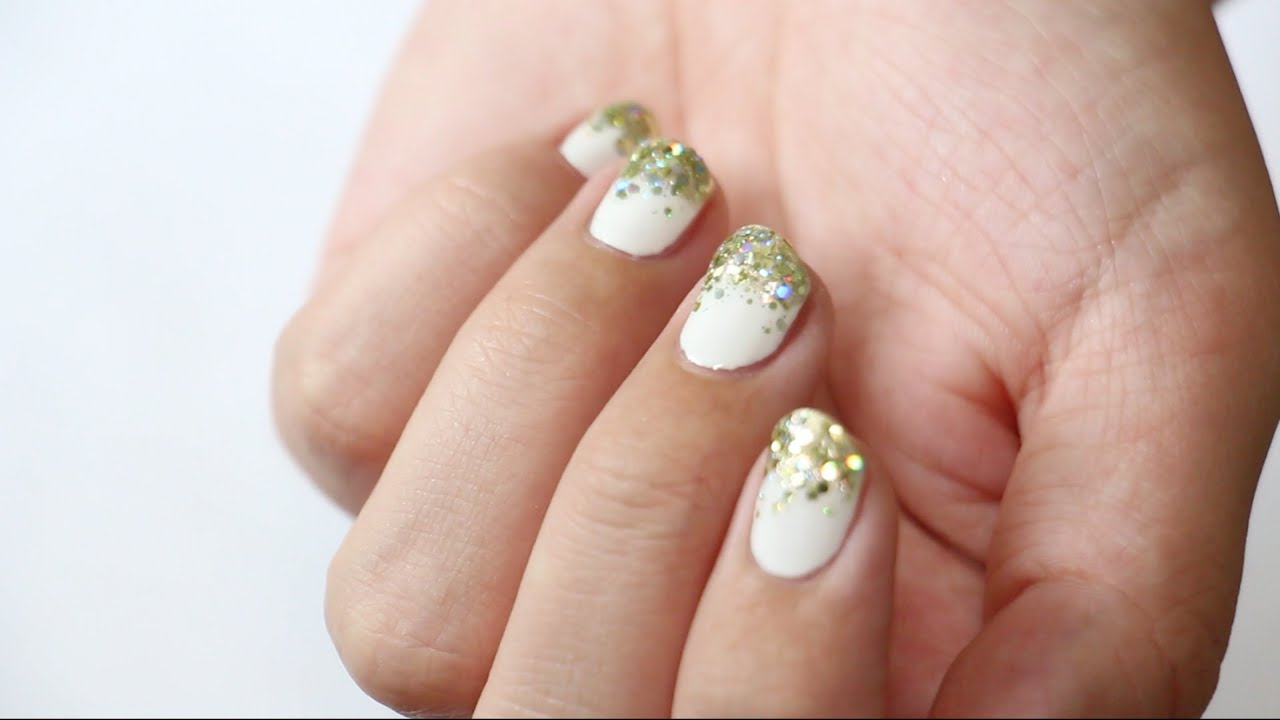 White and Gold Glitter Manicure - YouTube