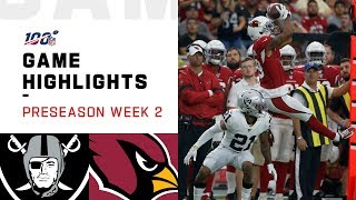 Raiders vs. Cardinals Preseason Week 2 Highlights | NFL 2019